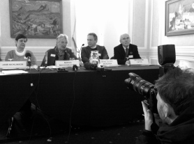 Margo MacDonald launcing her assisted suicide bill with Jane Nicklinson, Sir Graeme Catto, and Reverend Scott McKenna.